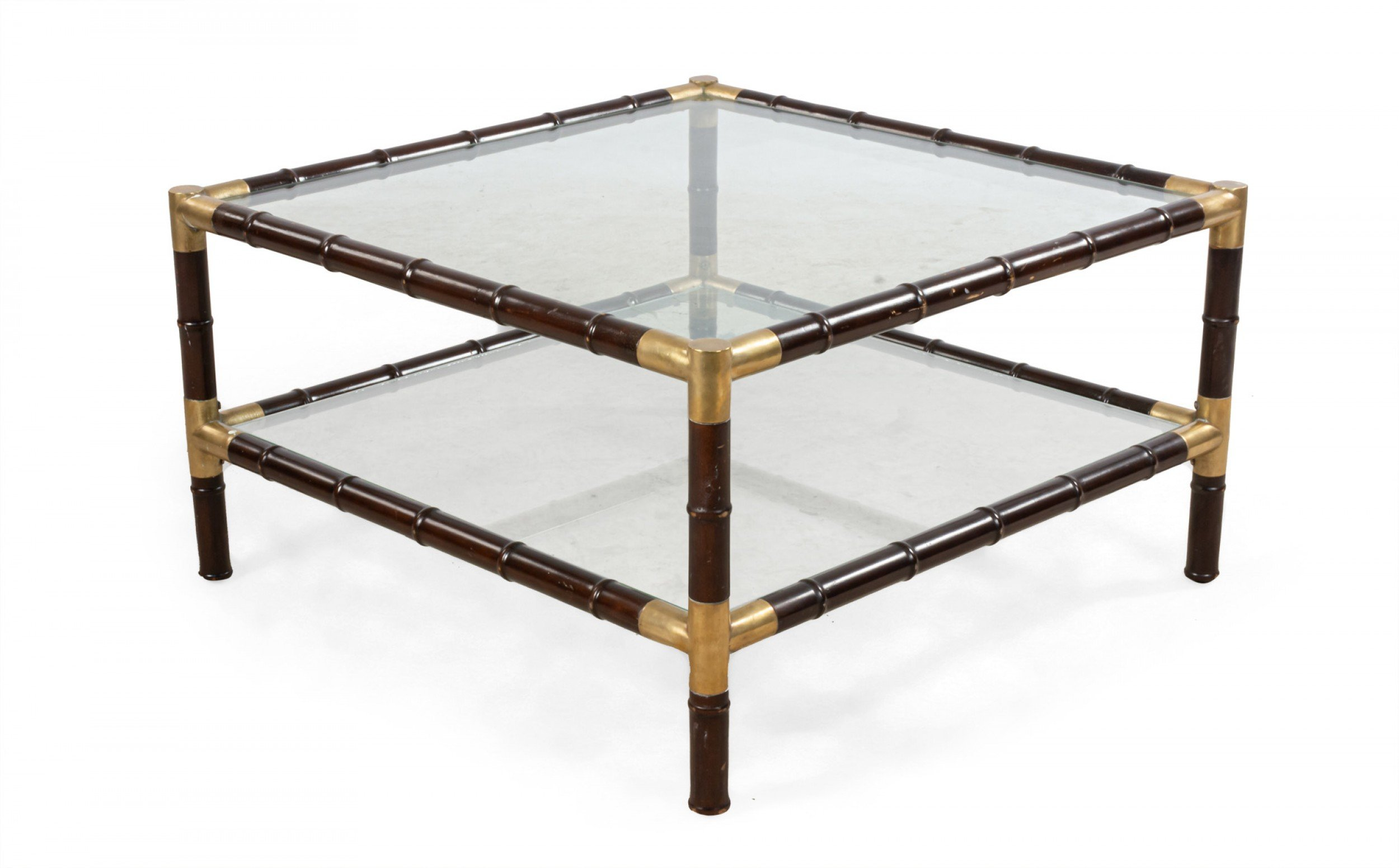 Mid-Century Faux Bamboo and Glass Square Coffee Table