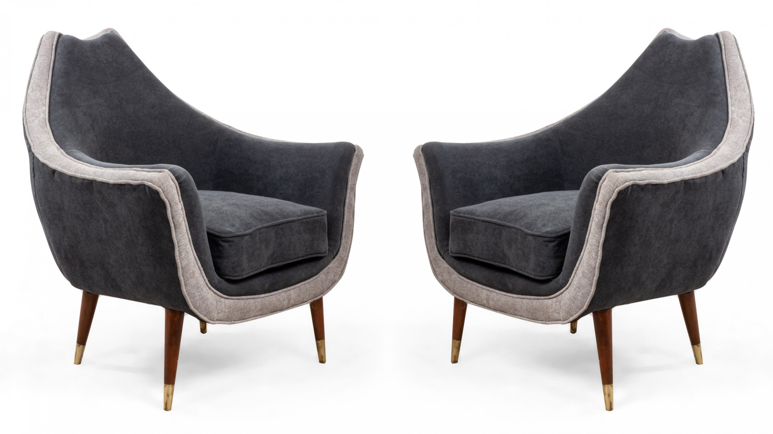 Mid-Century Two-Tone Gray Arm / Club Chairs
