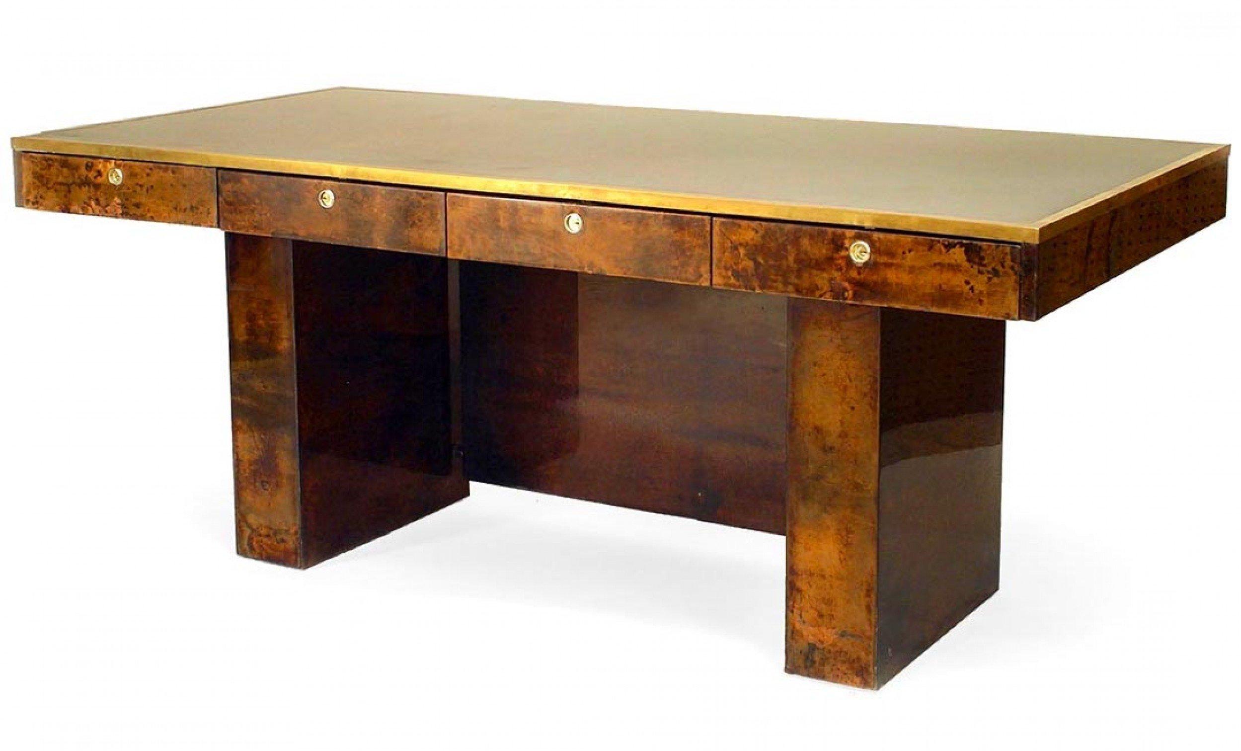 Aldo Tura Italian Brown Parchment Veneer Desk