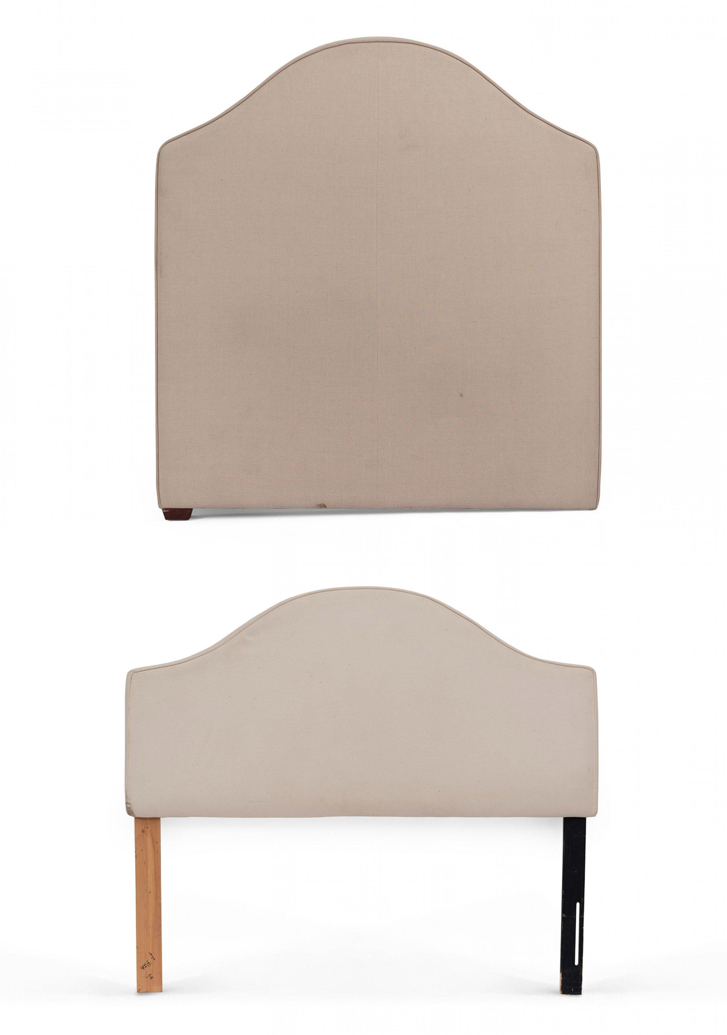 Contemporary Beige Cotton Queen Bed