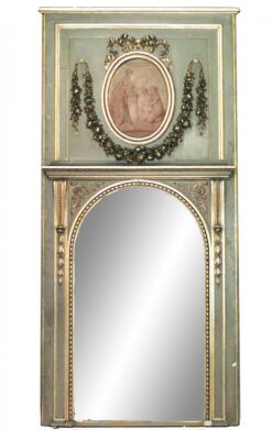 Louis XVI Style Painted Trumeau / Wall Mirror