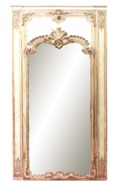 Louis XVI Style Painted and Gilt Trumeau / Wall Mirror