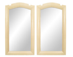 French Art Deco Beige Parchment Wall Mirrors