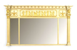 English Regency Style Gilt and Painted Wall Mirror