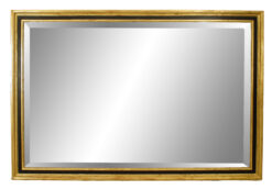 French Louis XVI Style Black and Gold Painted Wall Mirror