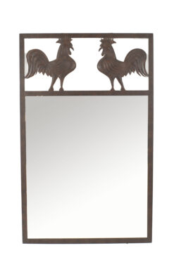 French Provincial Wrought Iron Rooster Wall Mirror