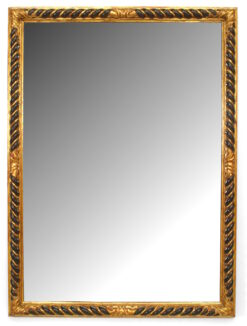Italian Rococo Carved Giltwood and Ebonized Wall Mirror