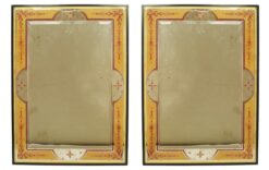 Italian Mid-Century Beige Floral and Scroll Eglomise Wall Mirrors