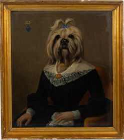 French Victorian Yorkshire Terrier Lady Portrait