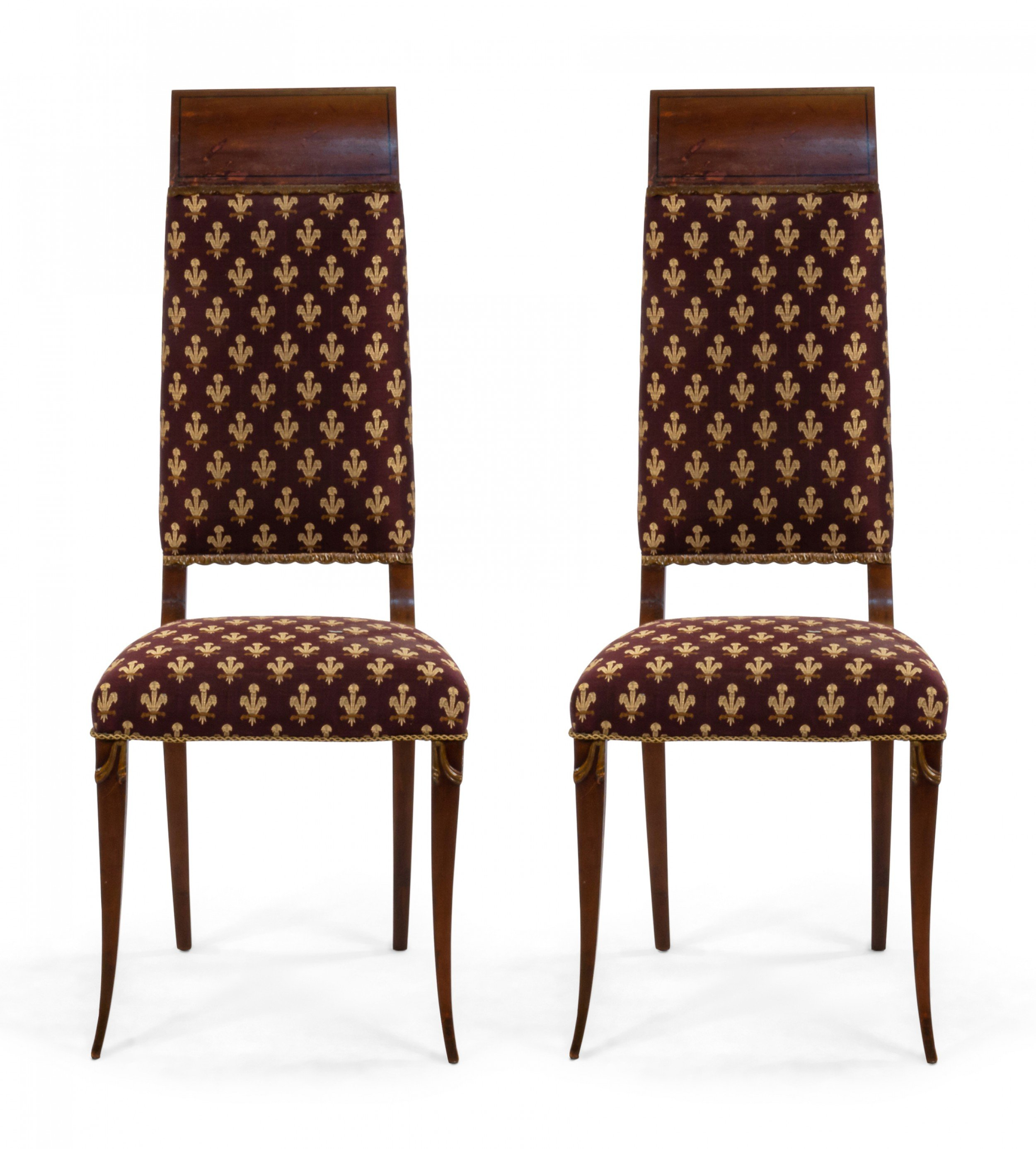 English Edwardian High Back Chairs with Maroon Upholstery