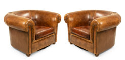 English Chesterfield Leather Club Chairs
