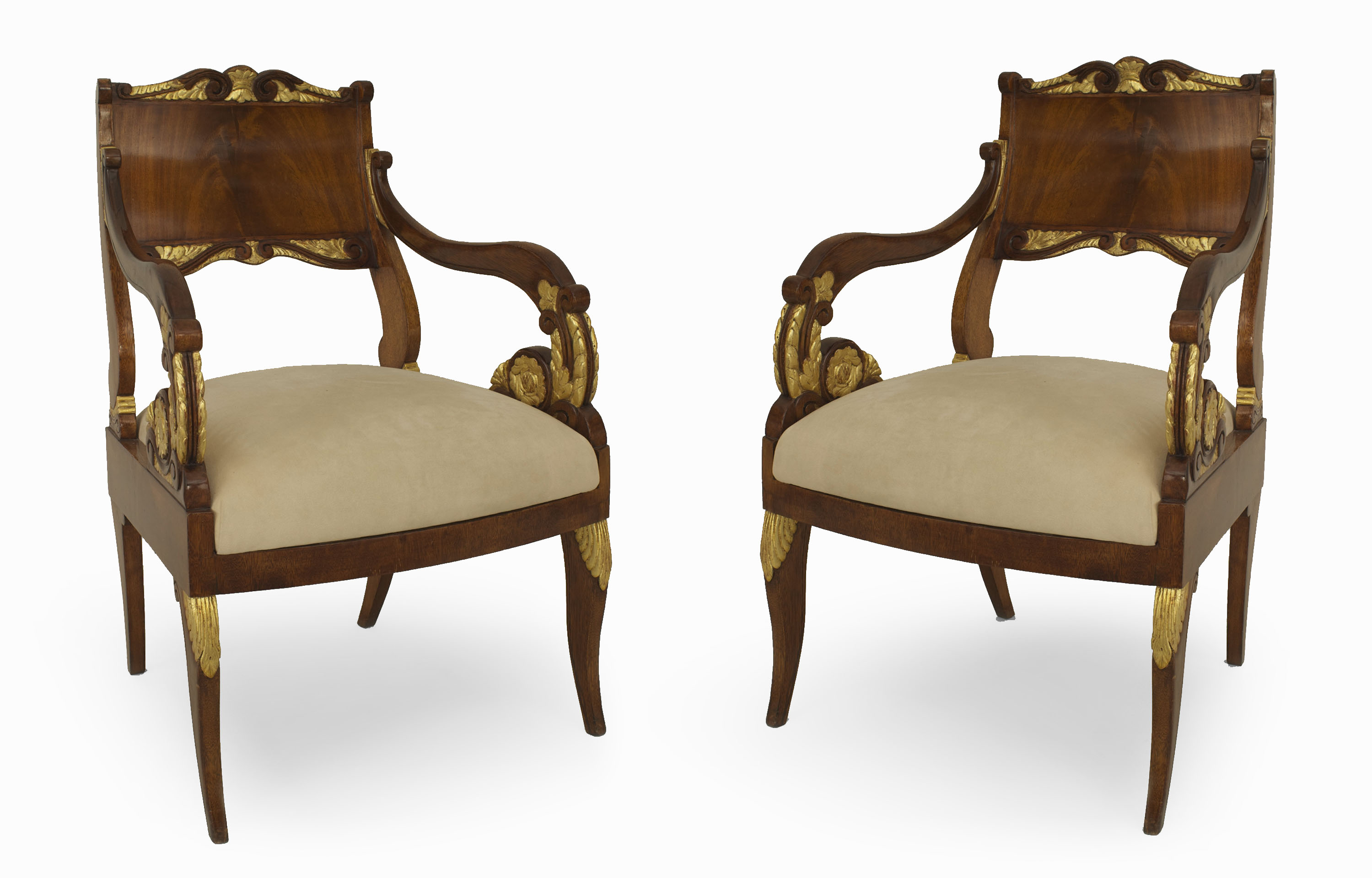 Russian Mahogany Scroll Arm Chairs