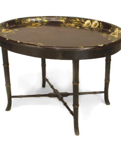 English Victorian Papier Mache Floral Coffee Table