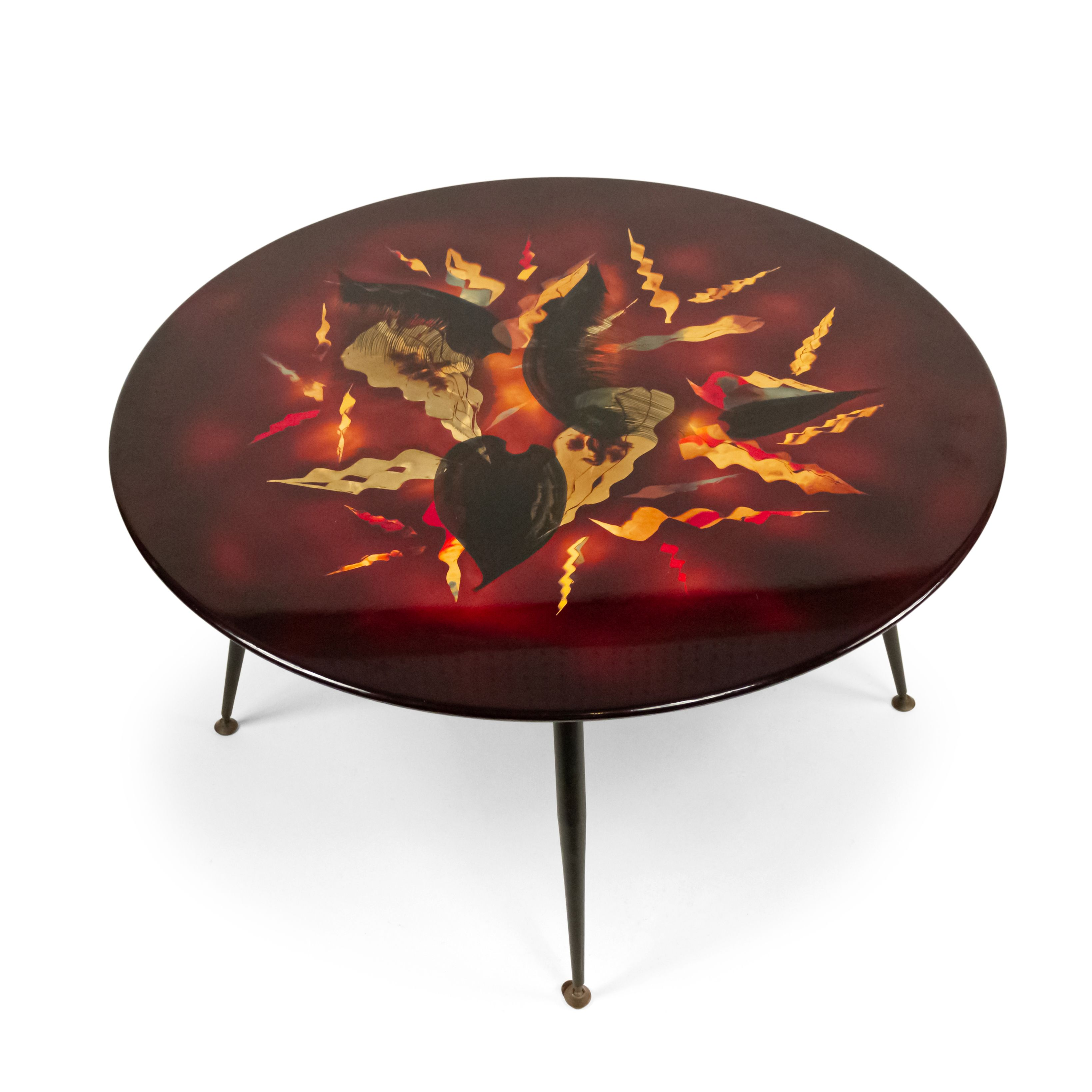 French Mid-Century Geometric Lacquered Leaf Design Coffee Table