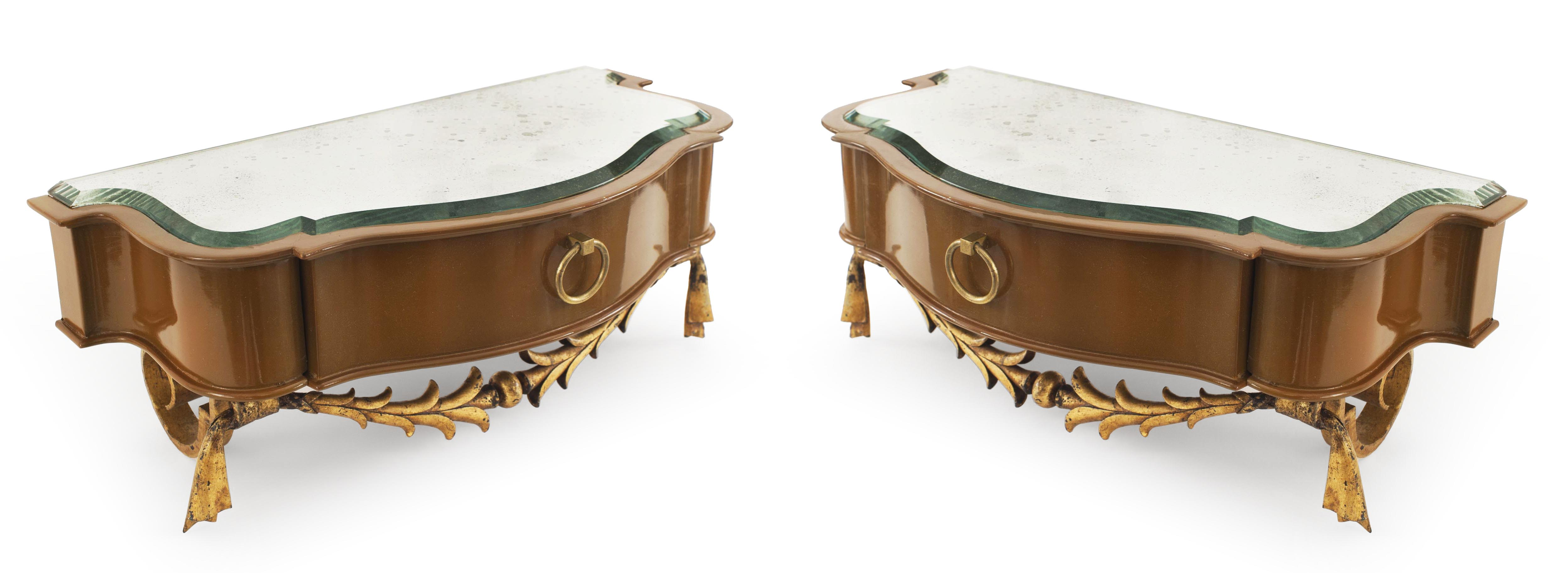 French Mid-Century Lacquered Diminutive Bracket Console Tables