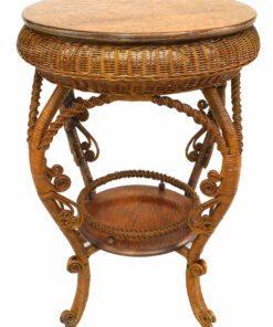 American Victorian Natural Wicker Parlor Table