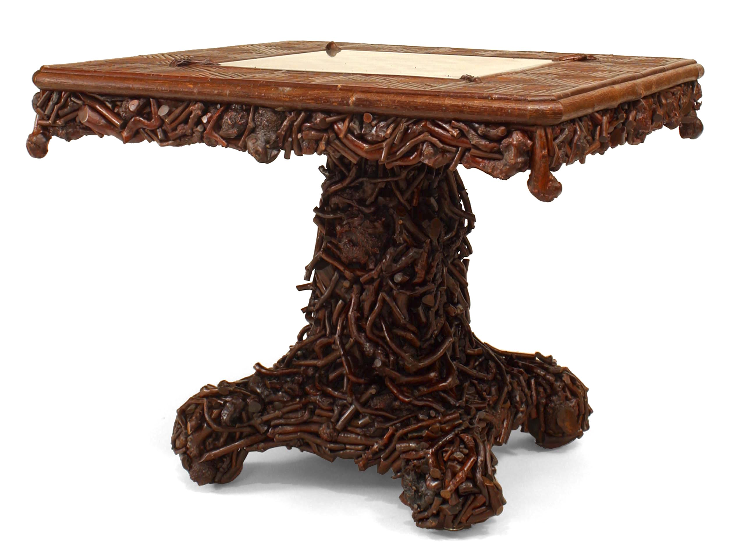American Rustic Chess Game Table With Slat Twig and Root Design