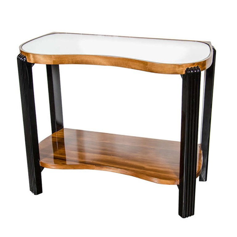 Art Deco Machine Age Side Table with Streamline Reeded Leg Design