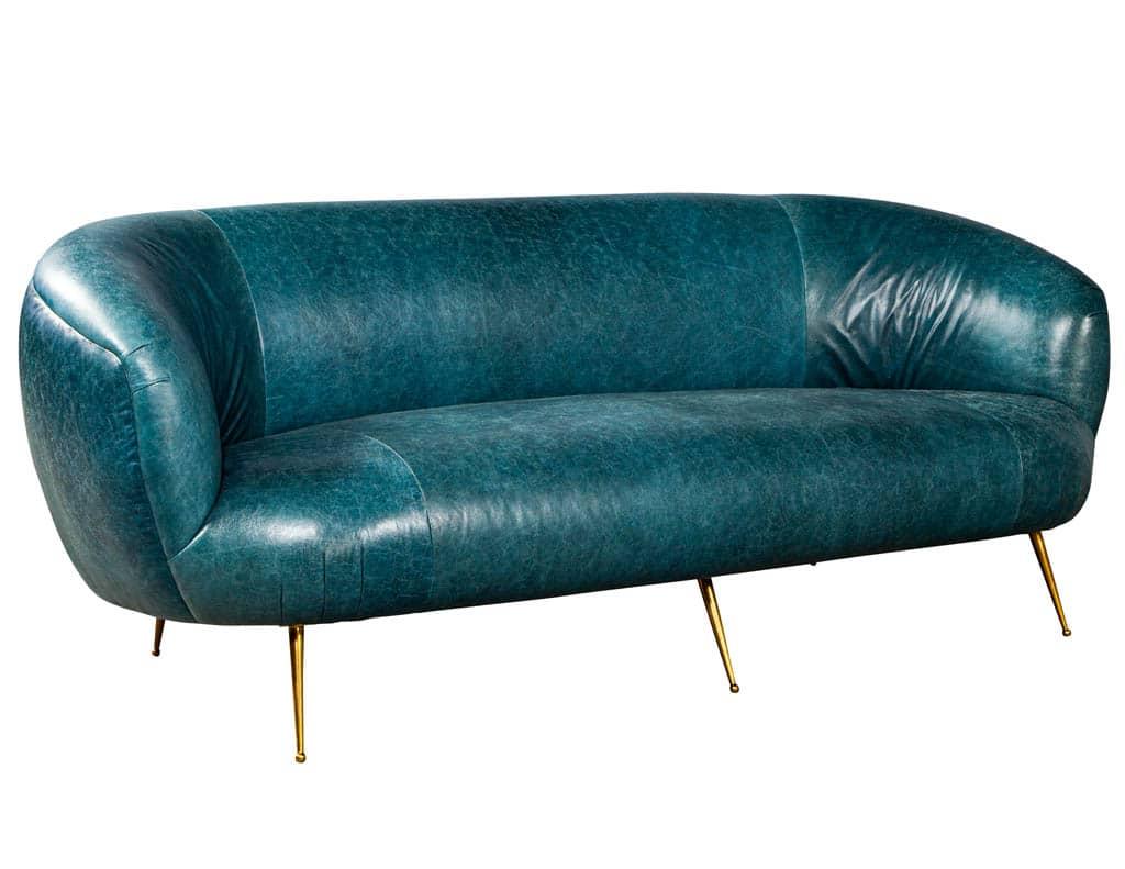 Kelly Wearstler Modern Leather Settee Sofa