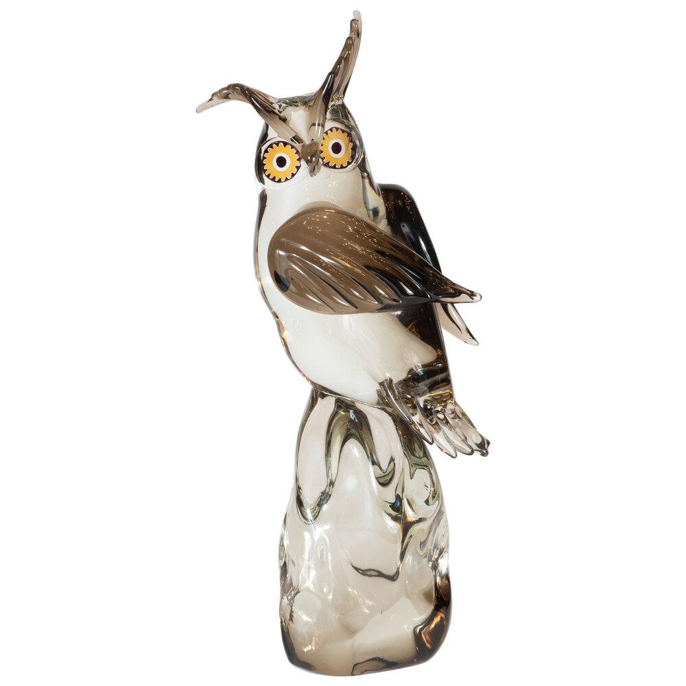 Mid-Century Modern Signed Hand Blown Murano Owl Sculpture by Licio Zanetti