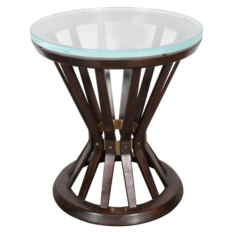 Mid-Century Modern Occasional Table in Walnut, Brass & Glass by Edward Wormley