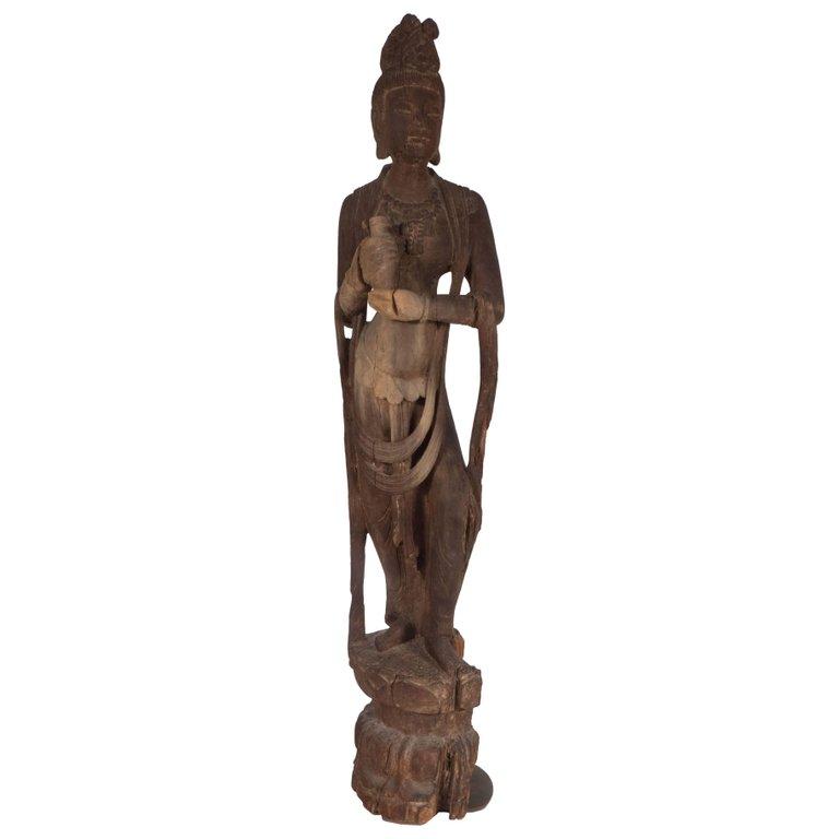 18th Century Hand-Carved Jichi Wood Guanyin Figure