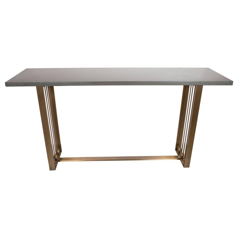 Custom Modernist Brushed Brass and Grey Limestone Console Table