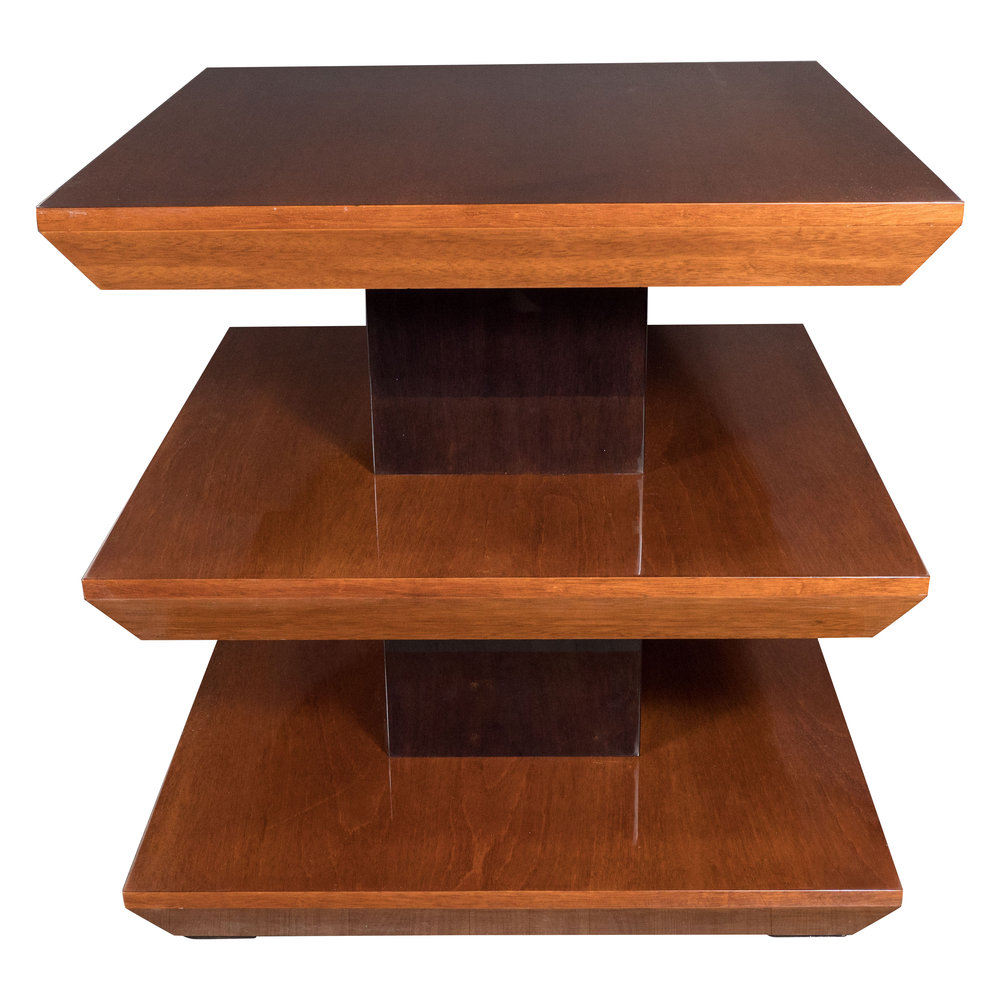 Three Tier French Art Deco Side Table in Black Lacquer and Book Matched Walnut