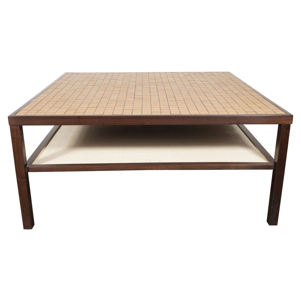 Mid Century Modern Tile, Lacquered Linen & Hand Rubbed Walnut Cocktail Table by Jane and Gordon Martz