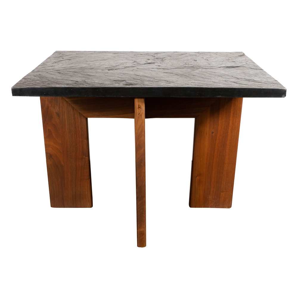 Midcentury Organic Modern Slate & Walnut Occasional Table by Adrian Pearsall