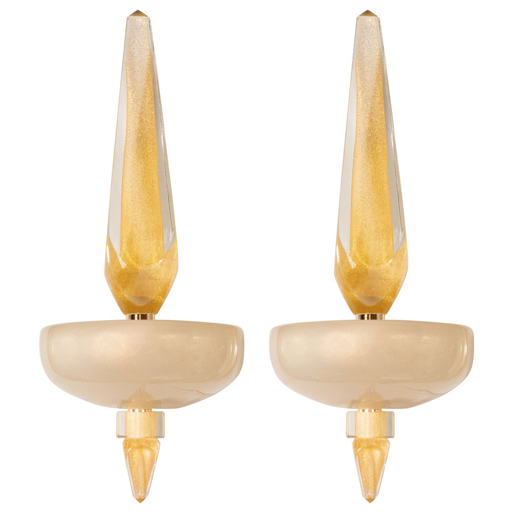 Pair of Modernist Murano Obelisk Sconces in Pearlescent Glass with 24-Karat Gold