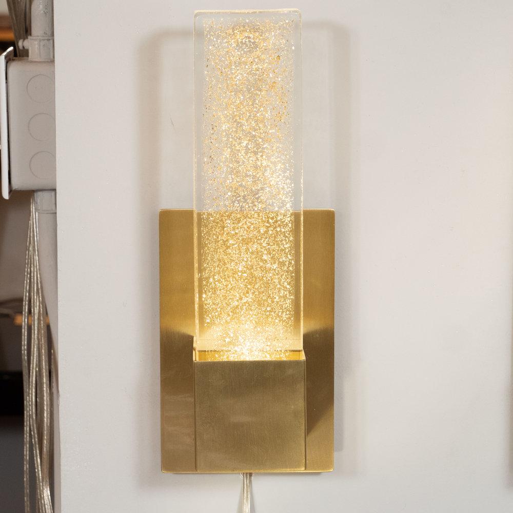 Pair of Handblown Murano Glass & Brushed Brass Sconces with 24-Karat Gold Flecks