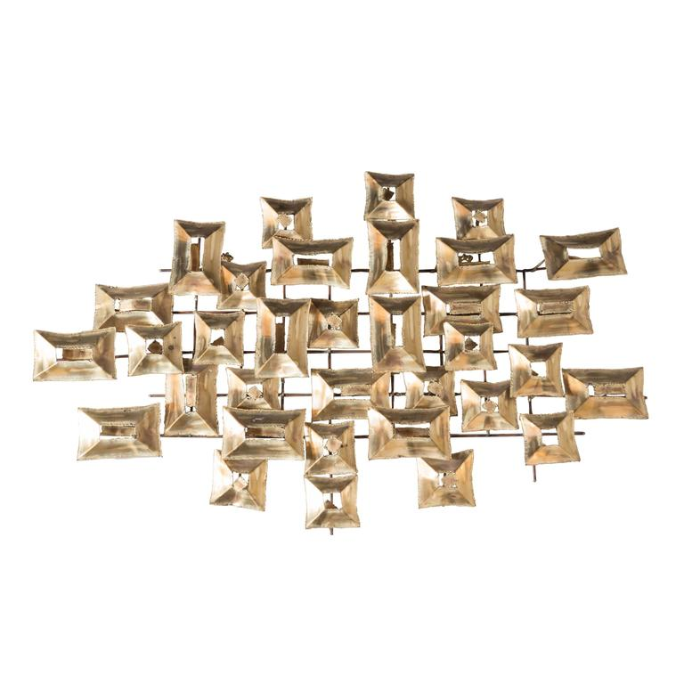 Curtis Jere Mid Century Modern Brutalist Wall Sculpture with Torch Cut Patinated Brass Circa 1970
