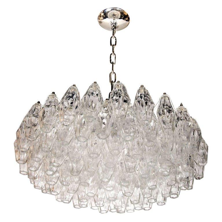 Modernist Handblown Translucent Murano Glass Polyhedral Chandelier