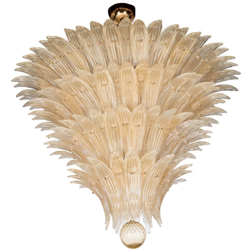 Exquisite Five-Tier Handblown Champagne Murano Glass Palma Chandelier