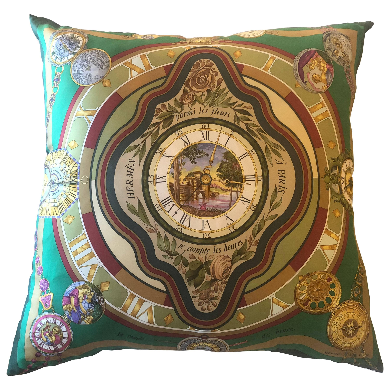 Enormous Hollywood Regency Style Hermes 'Parmi Les Fleurs' Silk Stuffed Pillow