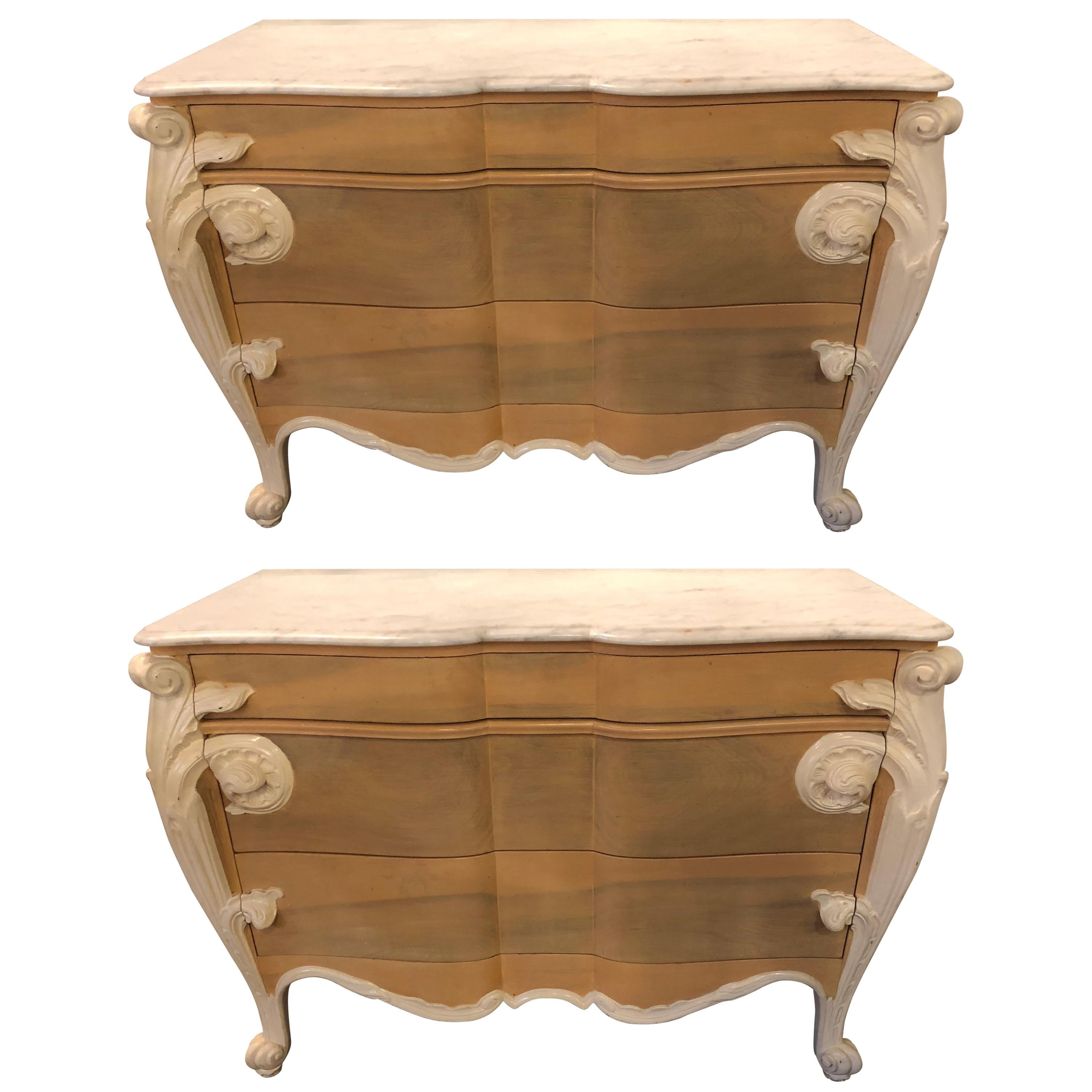 Hollywood Regency Louis XV Commodes, Nightstands or Dressers by Casaragi a Pair