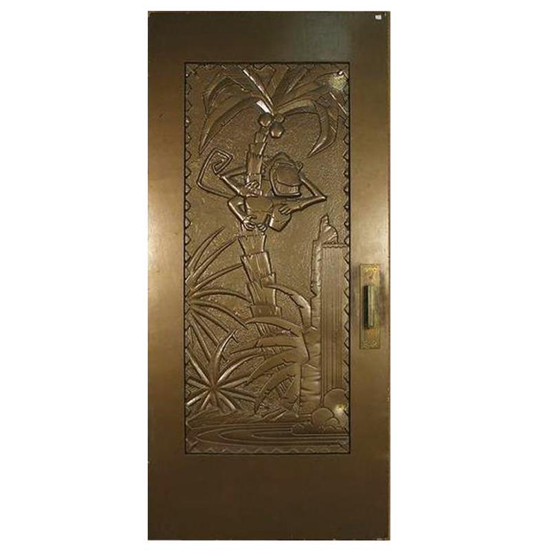 Large Tall Gold Coco Bongo Art Deco Prop Door from