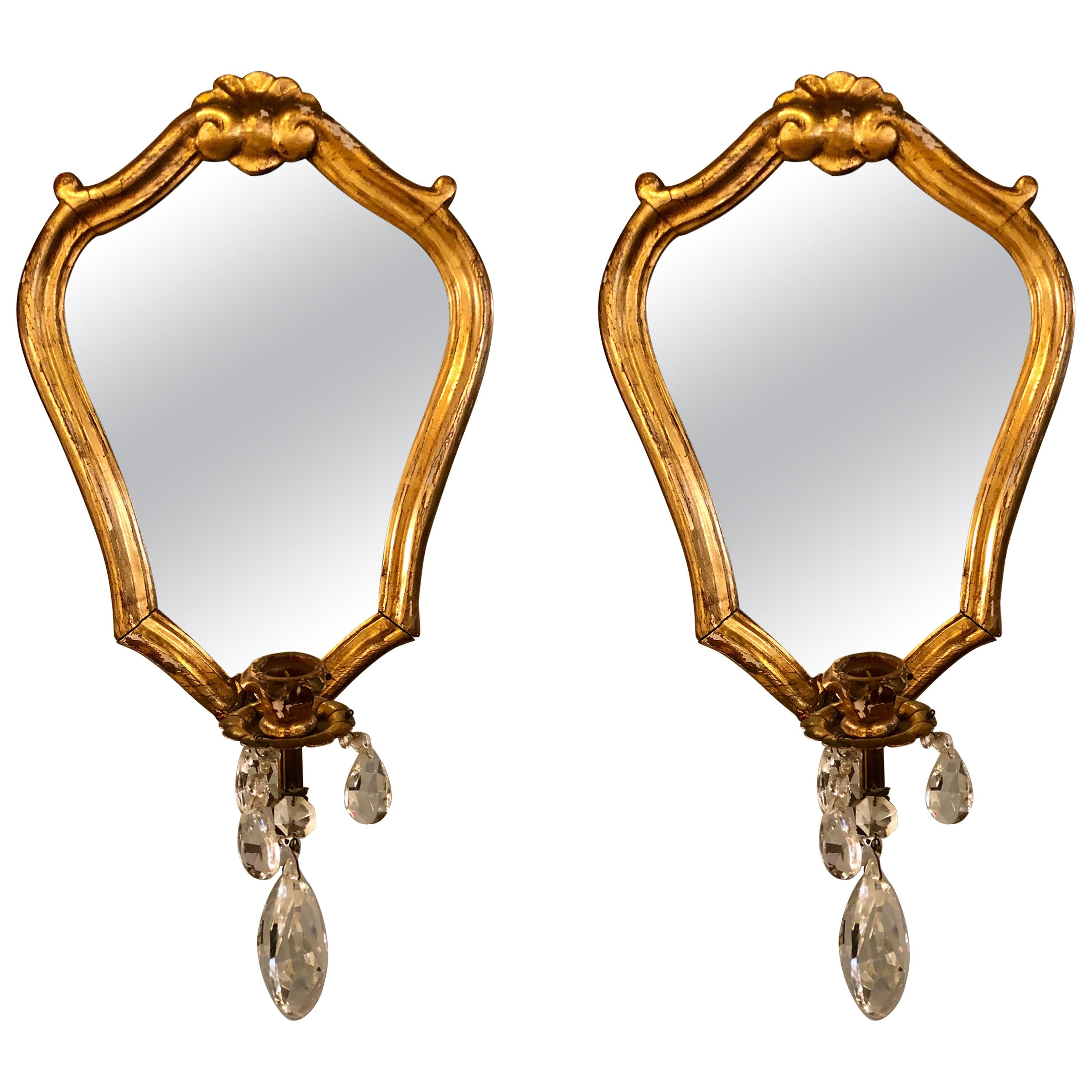 Pair of Wall Sconces with Crystals in Giltwood Heart Shaped