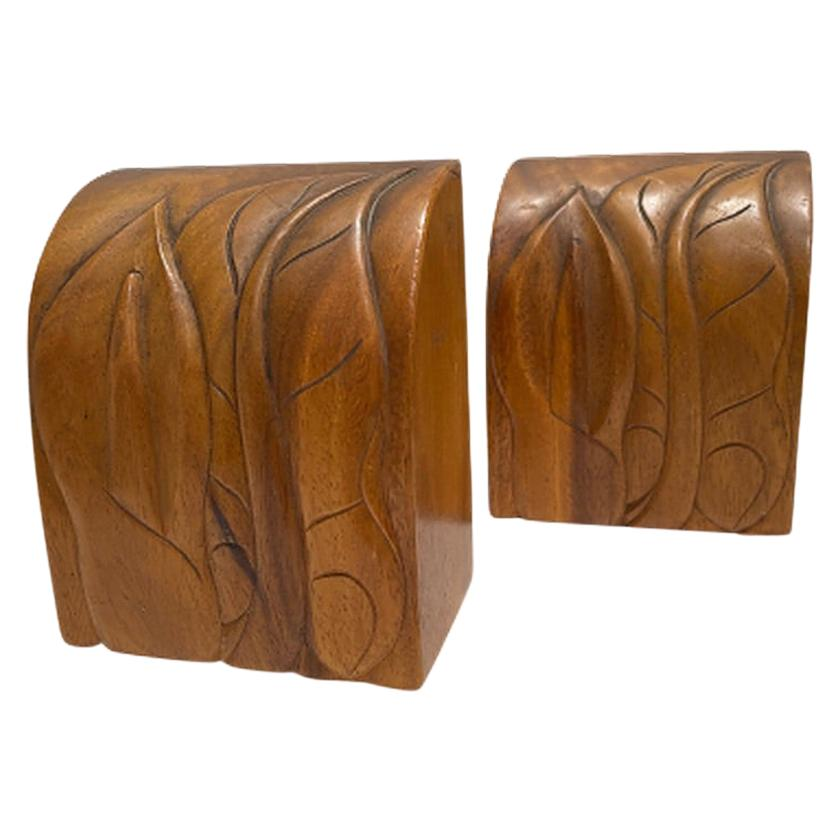 Hawaiian Bookends with Carved Flowers and Leaves