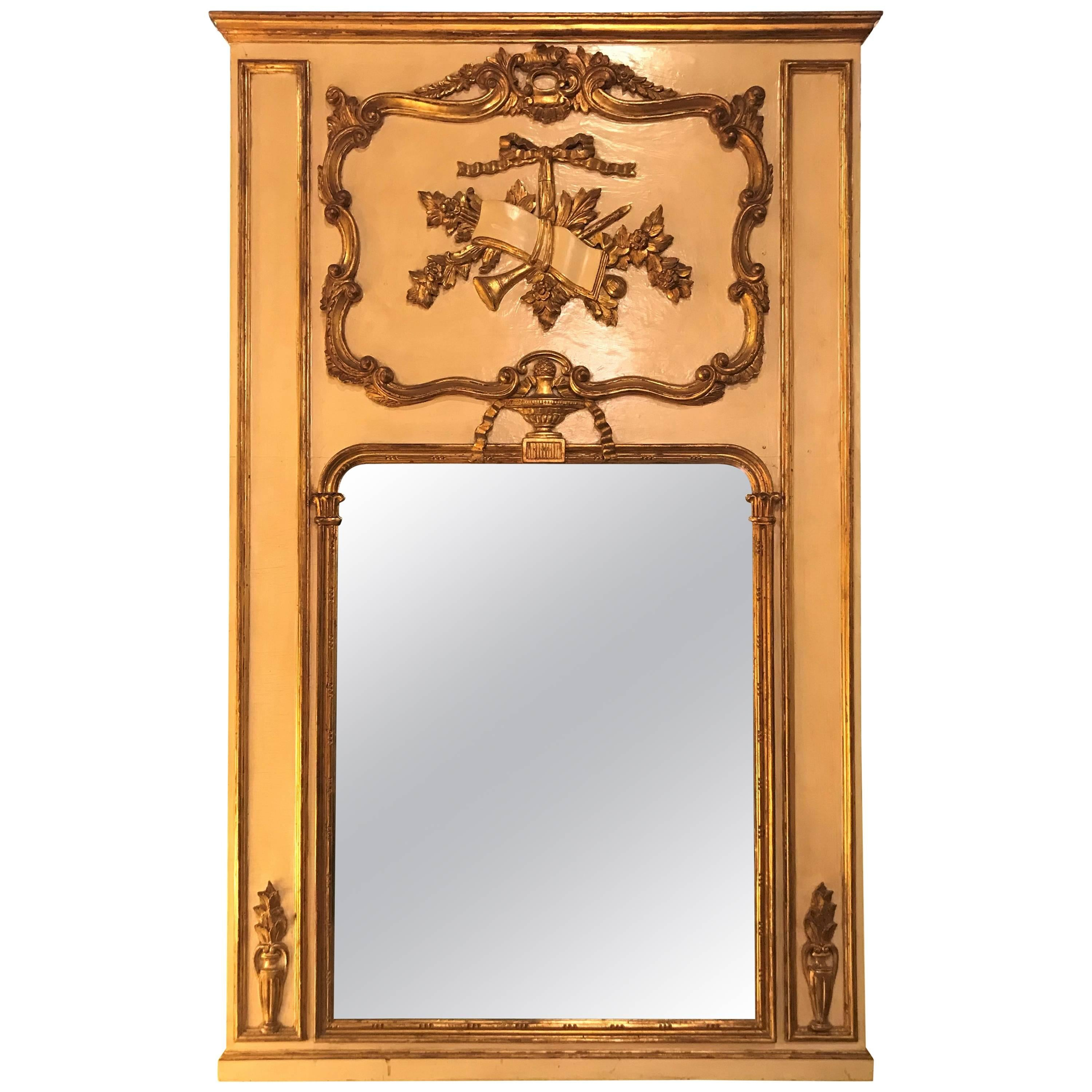 Louis XVI Style Painted and Parcel-Gilt Trumeau Console or over the Mantle Mirror