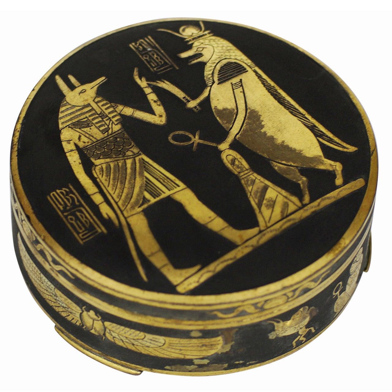 Egyptian Revival Damascene Decorative Case