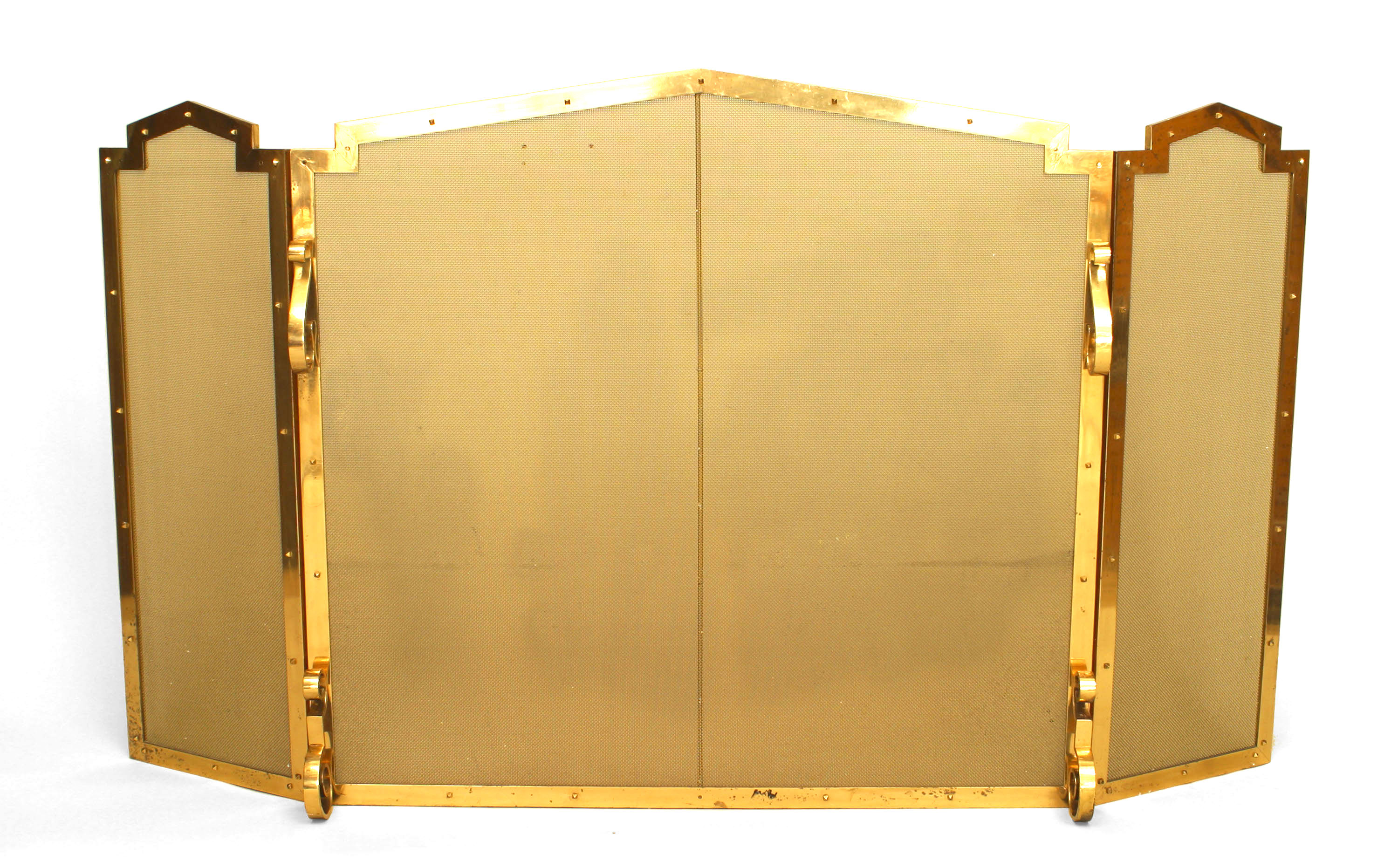 American Mission Style Brass Fire Screen
