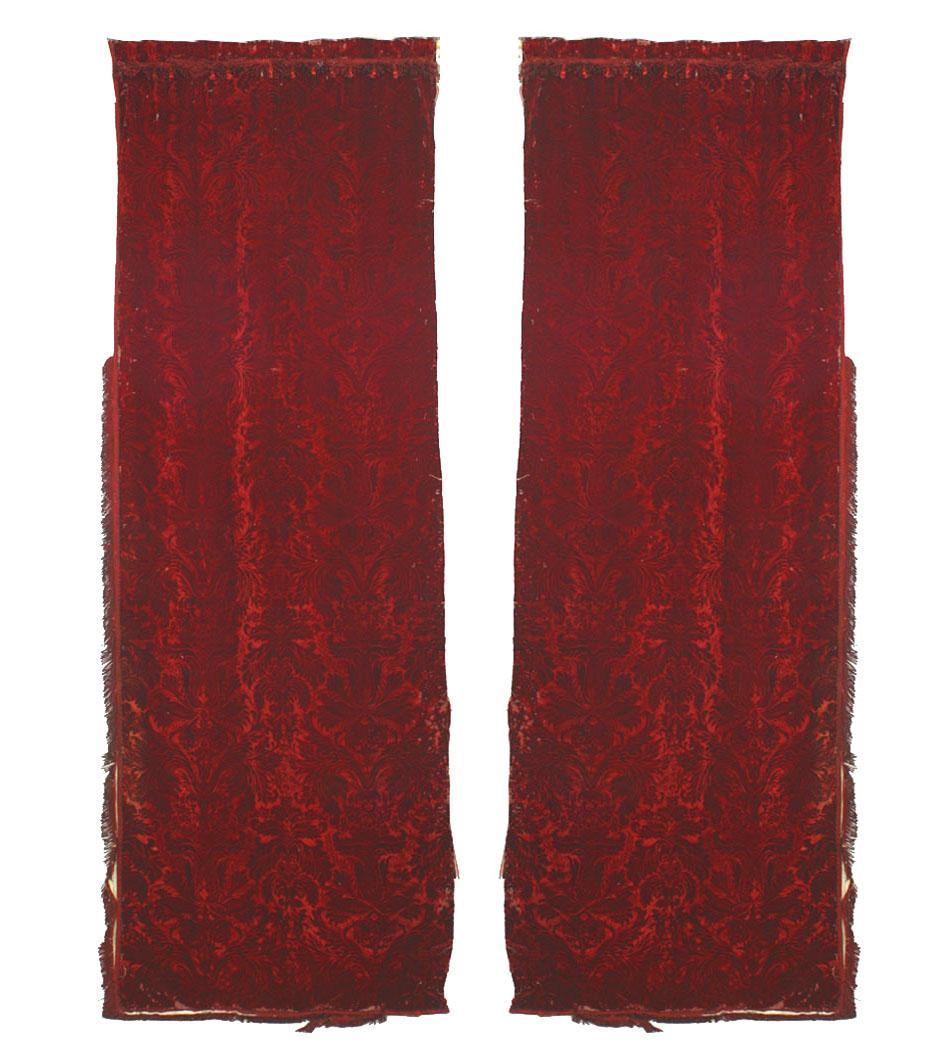 Pairs of English Victorian Style Burgundy Cut-Velvet Drapes
