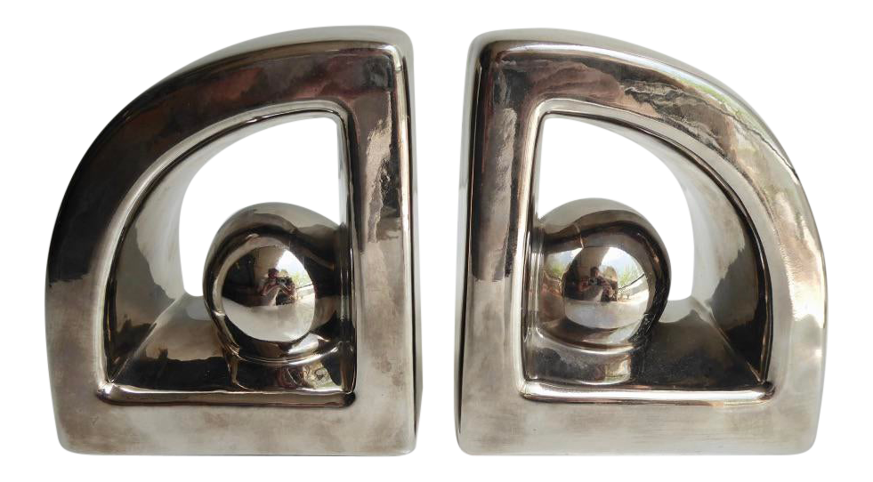 1970s Luster-Glazed Ceramic Bookends by Jaru C. - a Pair