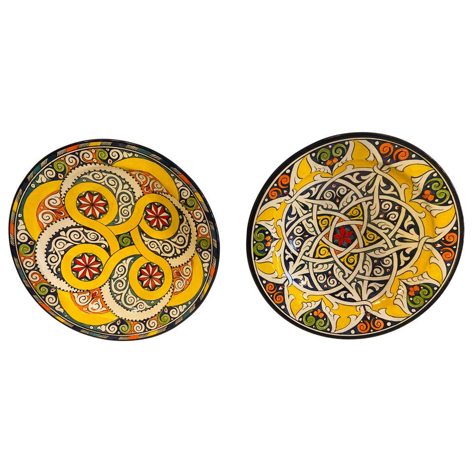 Hand Painted Large Ceramic Serving, Center Table or Decorative Plate, Set of 2