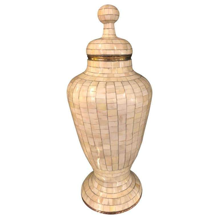Mid-Century Off-White Mosaic Natural Bone with Brass Inlay Urn or Vase