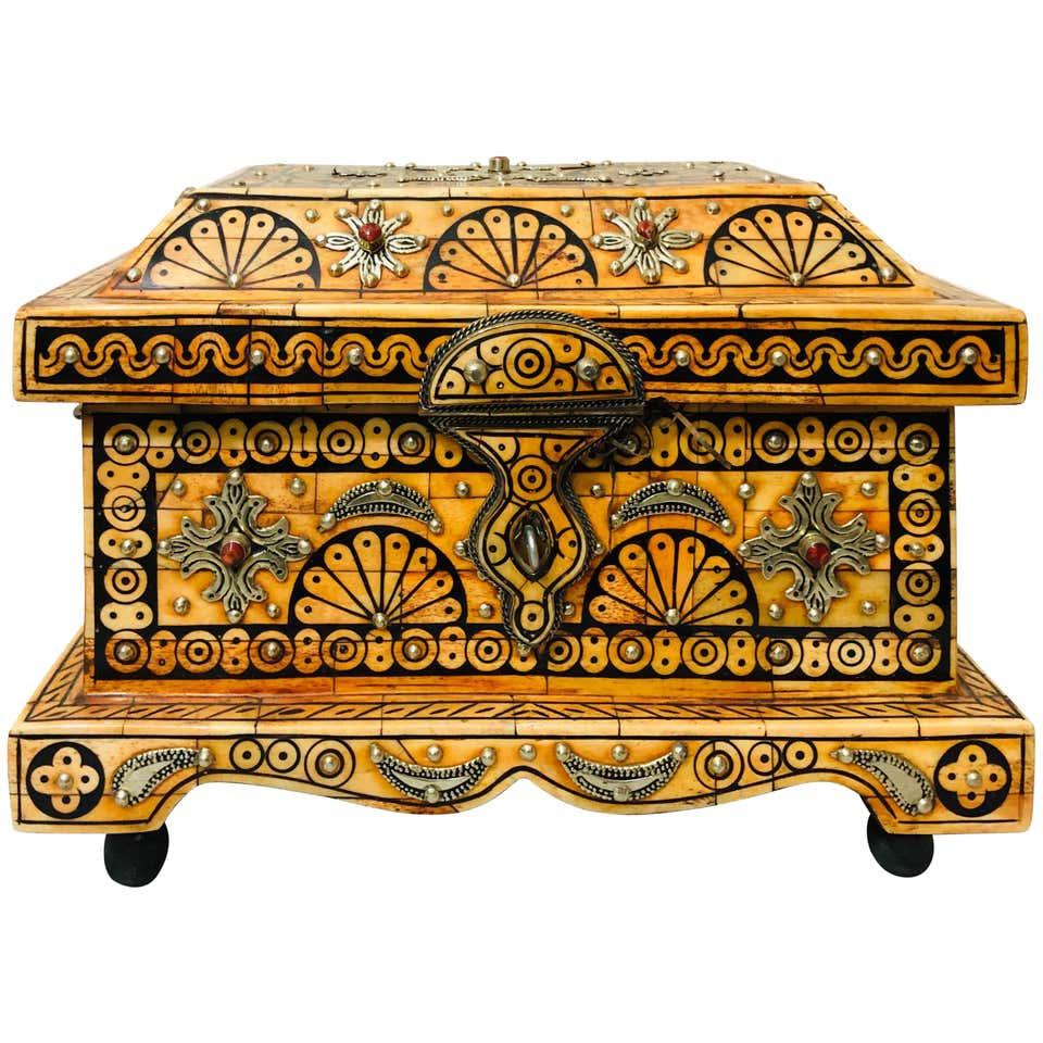 Orange Brass and Bone Inlaid Jewelry Chest/Box