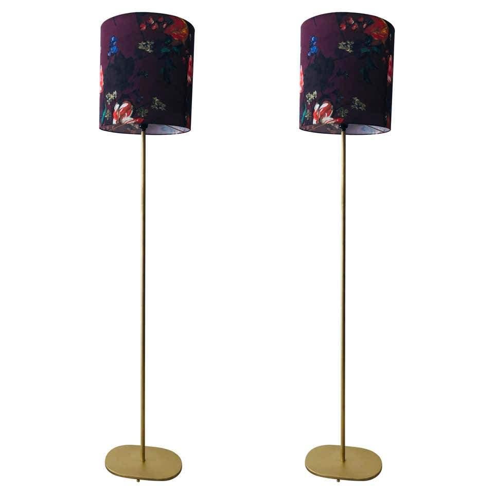 Pair of Modern Floor Lamps - Handmade Shades