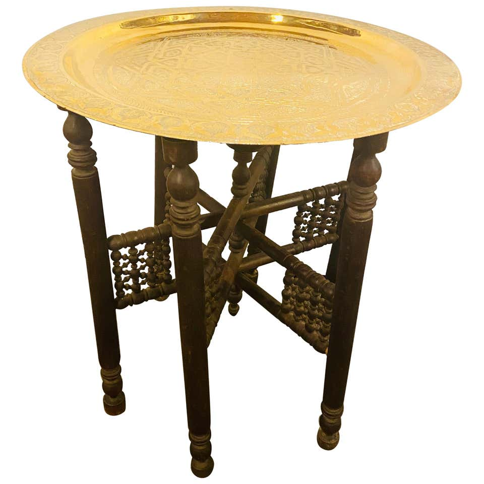 Moroccan Brass Tray with Hand Carved Wooden Ebonized Folding Base
